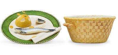 Richard Shaw, 'Two-piece trompe l'oeil sculpture (Sardine and Lemon on Plate with Basket), France', 1988