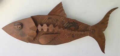 "Hugh Holborn, '""Albulidae #2"" forged salvage steel fish wall sculpture', 2019"