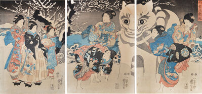 Utagawa Kuniyoshi, 'Snow Cat: The First Snow of the Year', ca. 1850