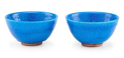 Glen Lukens, 'Two small bowls, Persian blue crackle glaze, Los Angeles, CA'