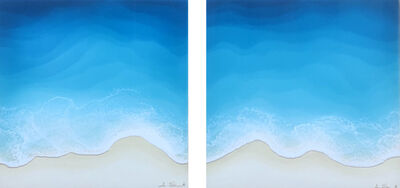 """Anna Sweet, '""""Wind & Water B (Diptych)"""" Mixed media painting of blue ocean waves from aerial view', 2020"""