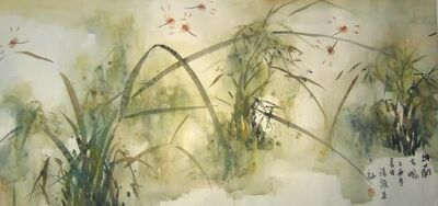 """Zhou Xiao, '""""Dragonfly #19"""" Chinese ink on paper of dragonflies in green and red', 1995-2005"""