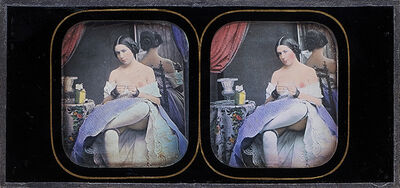 Félix-Jacques Moulin, 'Seated Female Nude with Purple Skirt at Mirror', 1850s/1850s