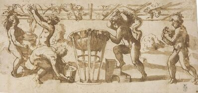 'Putti gathering grapes and putting them in wine vats under a trellis'