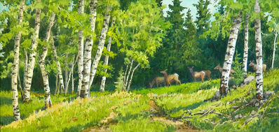 Leon Loughridge, 'Passing Through (herd of deer grazing through forest, aspen groves)', 2019