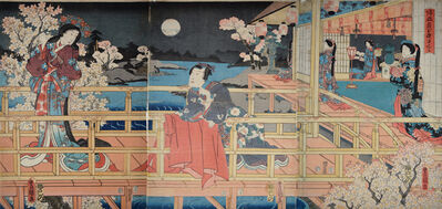 Utagawa Toyokuni III (Utagawa Kunisada), ' Night Cherry Blossoms and Returning Geese', 1854