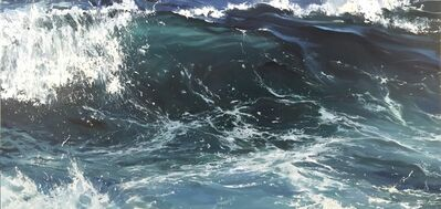 """Annie Wildey, '""""Crystal Wave II"""" oil painting of the curl of a wave in dark blue water', 2010-2017"""