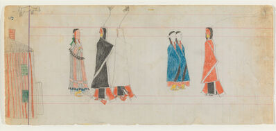 Unknown Cheyenne Artist, 'Ledger Drawing, Courting Scene', ca. 1885