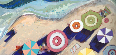 "Tim Jaeger, '""Labor Day in Lido Beach no. 10 (Diptych)"" Oil painting of aerial view of colorful umbrellas on a beach', 2019"