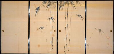 'Fusuma (Sliding Doors) with Seasonal Flowers and Grasses', ca. 1840
