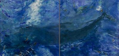 Betty Jo Costanzo, 'Living Oceans Maui No. 2 (diptych) / blue whale abstract painting', 2019