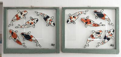 "Jeremy Novy, '""5 Koi - Diptych"" Spray paint on found glass in sage green window wood frame', 2021"