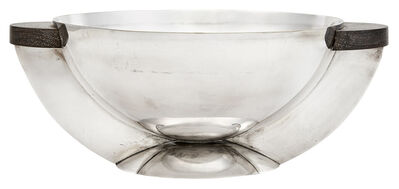 Maison Desny, 'Maison Desny Silver Plate and Ebony Two-Handled Centerpiece Bowl', 1930s