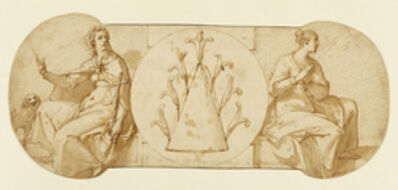 Federico Zuccaro, 'Allegories of Faith and Hope, Flanking the Zuccaro Emblem', 1595