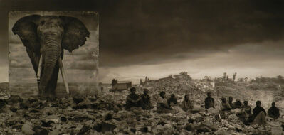 "Nick Brandt, '""Wasteland with Elephant and Residents""', 2015"