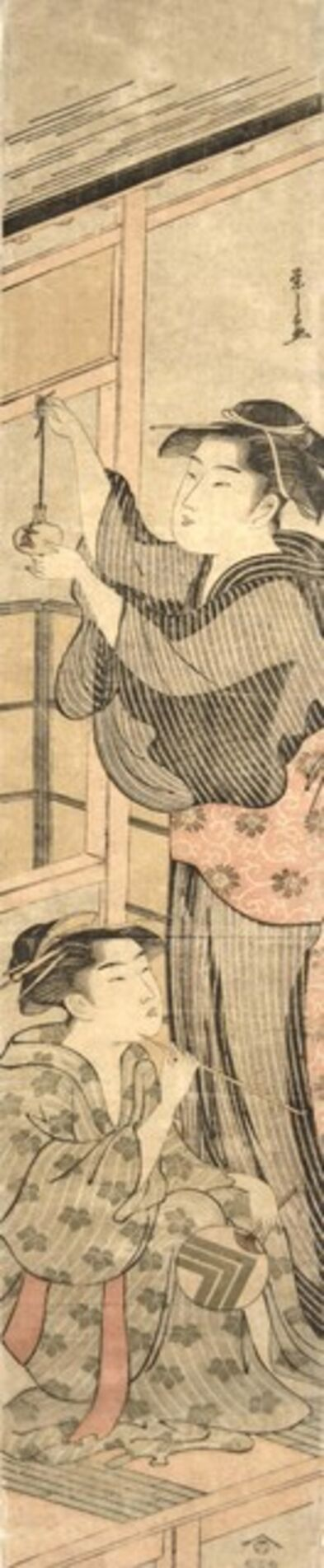 Hosoda Eishi, 'Bijin in a Summer Kimono Holding a Goldfish Bowl', ca. 1790