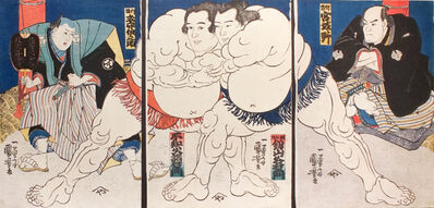 Utagawa Kuniyoshi, 'Sumo Wrestlers Shiranui Dakuemon (center left), Tsurugizan Taniemon (center right), with Refree Shikimori Inosuke (left) and Judge Retied Wrestler Miyagino (right)', ca. 1836