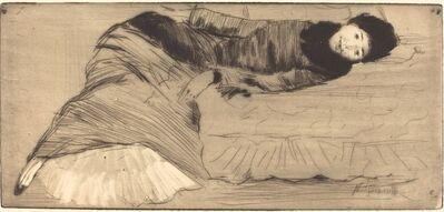Norbert Goeneutte, 'Smiling Woman Reclining on a Sofa (Femme souriant etendue sur un canape)'