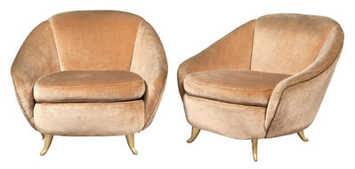 Gio Ponti, 'Pair of Gio Ponti Gilt Aluminum and Upholstered Lounge Chairs', Circa 1950s
