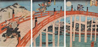 Utagawa Kuniyoshi, 'Ushiwaka-maru and Benkei on Gojo Bridge', ca. 1840