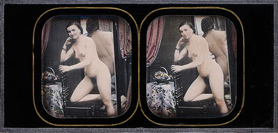 Félix-Jacques Moulin, 'Female Nude Kneeling on Chair with Mirror and Fruit Basket', 1850s/1850s