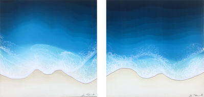"""Anna Sweet, '""""Sand & Sea  A (Diptych)"""" mixed media painting of deep blue waves from aerial view', 2020"""