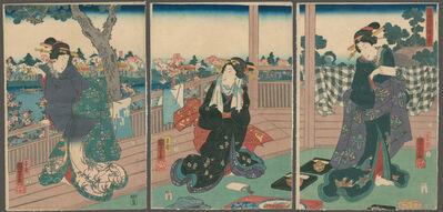 Utagawa Kuniyoshi, ' Beauties Enjoying a View of the Sumidagawa', 1854