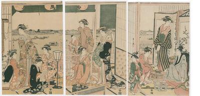 Chobunsai Eishi, 'View from the Ogi-ya Brothel of the Sumidagawa', 1790