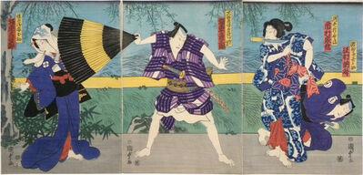 Utagawa Kunisada II, 'Actors Sawamura Tossho II in an unread role, Ichimura Kakitsu IV as Subashiri Okuma, Bando Hikasaburo V as Manoya Tokubei, and Bando Mitsugoro VI in an unread role', 1865