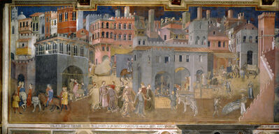 Ambrogio Lorenzetti, 'Allegory of Good Government in  the City and in the Country', 1338-1340
