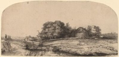 Rembrandt van Rijn, 'Landscape with a Hay Barn and a Flock of Sheep', 1652