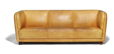 "Arne Jacobsen, 'Very rare freestanding three seater ""Novo"" sofa with round mahogany legs. Sides, seat, and back upholstered with patinated natural leather.'"