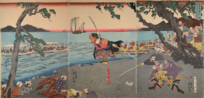 Utagawa Yoshitora, 'Miyamoto Musashi Fights Sasaki Ganryu at Ganryujima in Kyushu', ca. 1844