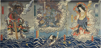 Utagawa Toyokuni III (Utagawa Kunisada), 'Life of Honchomaru Tsunagoro saved by divine favor at Naritasan', 1851
