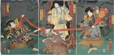 Utagawa Toyokuni III (Utagawa Kunisada), 'Actor Ichikawa Ichizo as Nadauemon, Actor Ichikawa Kodanji as Tonnenbo, Actor Onoe Kikujiro as Nadeshiko Ogami, Actor Nakamura Turunosuke as Washizu Rokuro', ca. 1862