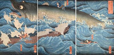 Utagawa Kuniyoshi, 'Minamoto no Tametomo Rescued by Tengu ', ca. 1849