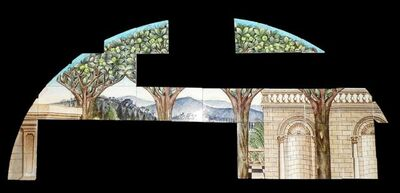Attributed to Halsey Ricardo, 'A William De Morgan arched tiled wall panel'