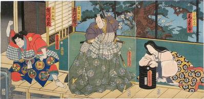 Utagawa Toyokuni III (Utagawa Kunisada), 'Actors Onoe Kikugoro as Akishino, Ichikawa Kodanji as Bungonosuke, and Ichikawa Ichizo as Toriyama Akisaku', 1862