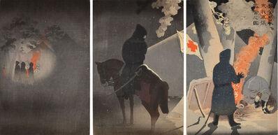 Kobayashi Kiyochika 小林清親, 'Braving the Bitter Cold, Camp at Yingkou', 1895