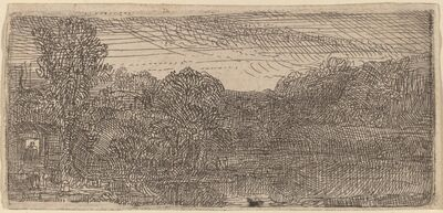Rembrandt van Rijn, 'Small Gray Landscape: a House and Trees beside a Pool', ca. 1640