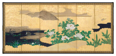 Kano School, 'Birds and Flowers by a Stream (T-4244)', Edo period (1615, 1868), 19th century