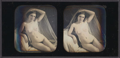 Bruno-Auguste Braquehais, 'Seated Female Nude with Veil', 1850s/1850s
