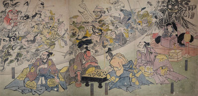 Utagawa Kuniyoshi, 'The Earth Spider Conjures Goblins at the Mansion of Minamoto no Yorimitsu (Raiko)', ca. 1843