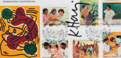 Keith Haring, 'Signed Keith Haring International Volunteer Day mailer 1988', 1988