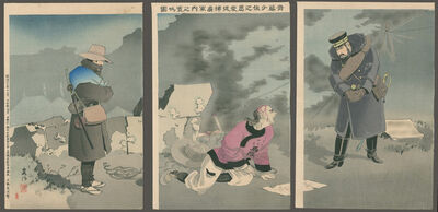 Taguchi Beisaku, 'The Merciful Major Saito Coaxes a Captured Soldier to Give Up Enemy Secrets', 1894