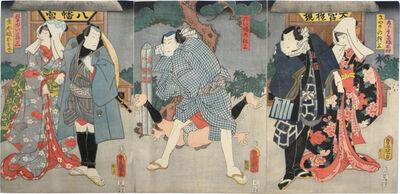 Utagawa Toyokuni III (Utagawa Kunisada), 'Actors Ichikawa Shinsha I as Gorobee musume [maiden] Oriu, Nakamura Fukusuke I as Kiyari no Kenzo, Bando Tamasaburo II as Mondo musume [maiden] Osode, and Ichikawa Ichizo III as Kamiyuhi Jinzo', 1859