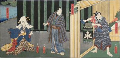 Utagawa Toyokuni III (Utagawa Kunisada), 'Actors Ichikawa Ichizo III as detchi [apprentice] Ichimatsu, Nakamura Fukusuke I as Yaoya Hanbei, and Ichikawa Dannosuke V as the geisha Kohina', 1857