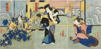 Utagawa Toyokuni III (Utagawa Kunisada), 'Actors Onoe Kikujiro II as Masatada's Wife Mugurato, Ichikawa Ichizo III as Kaja Yoshitaka, and Arashi Hinasuke VII as Chichibu no Shigetada', 1861