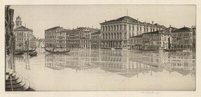 John Taylor Arms, 'Venetian Mirror.  (The Grand Canal, Venice.)', 1935