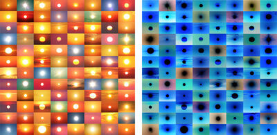 Penelope Umbrico, '31,888,928 Suns from Sunsets from Flickr (Partial) 10/24/16 / 31,888,928 Suns from Sunsets from Flickr (Partial) 10/24/16 (inverted)', 2016